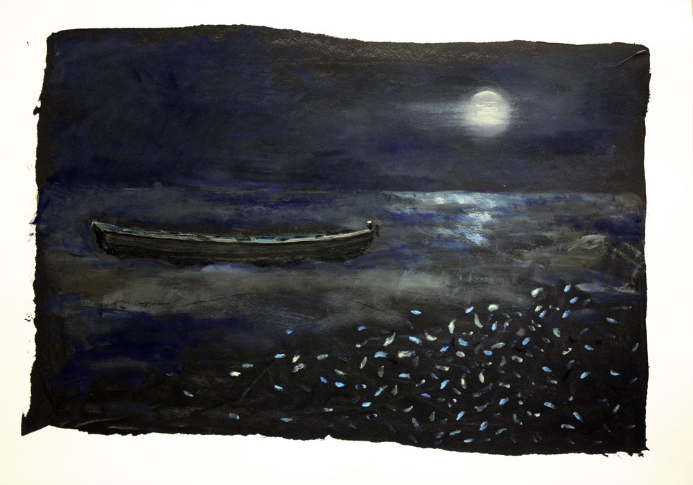 Fish Dreaming 54 X 72 cms Oil On Paper Sold