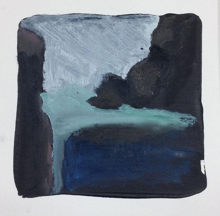 Azure Blue Sea 14 x 14 cms Oil On Card £60